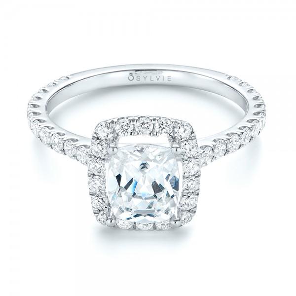 Halo Diamond Engagement Ring - Laying View