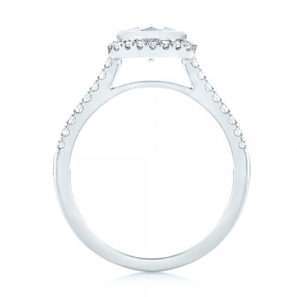 Halo Diamond Engagement Ring - Finger Through View