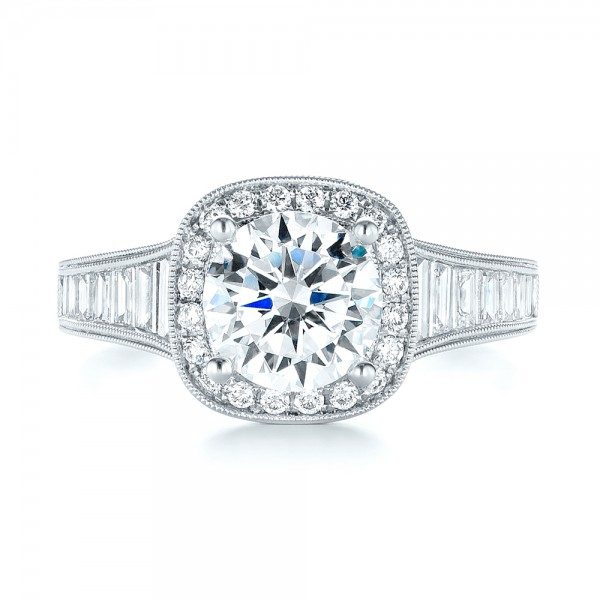 Halo Diamond Engagement Ring - Top View