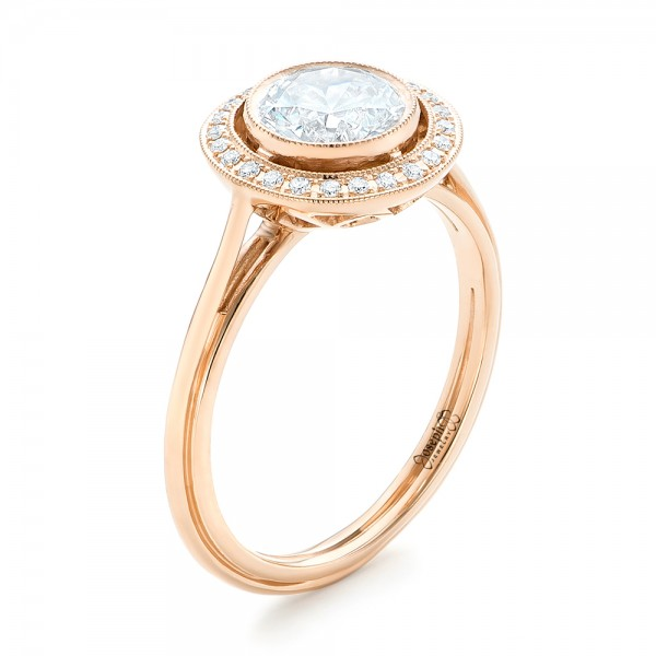 Rose Gold Diamond Halo Engagement Ring
