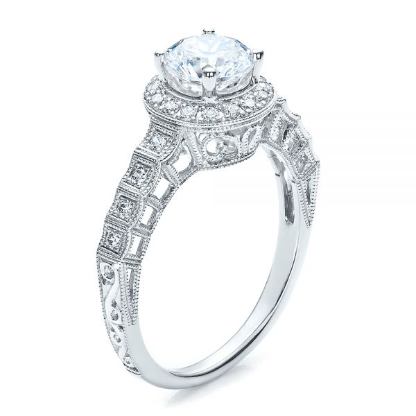 Halo Filigree Engagement Ring - Vanna K