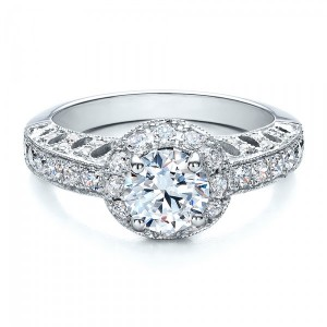 Halo Filigree Milgrain Engagement Ring - Vanna K