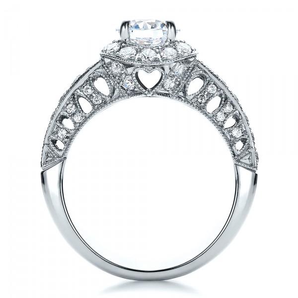 Halo Filigree Milgrain Engagement Ring - Vanna K  - Finger Through View