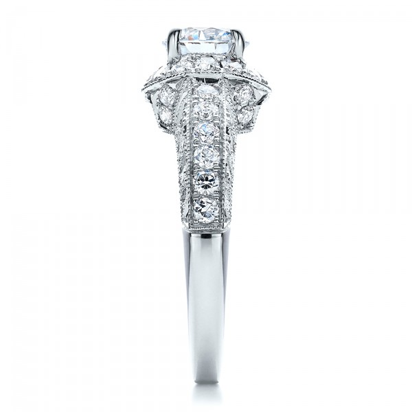 Halo Filigree Milgrain Engagement Ring - Vanna K  - Side View