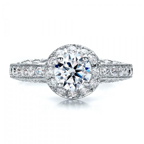 Halo Filigree Milgrain Engagement Ring - Vanna K  - Top View