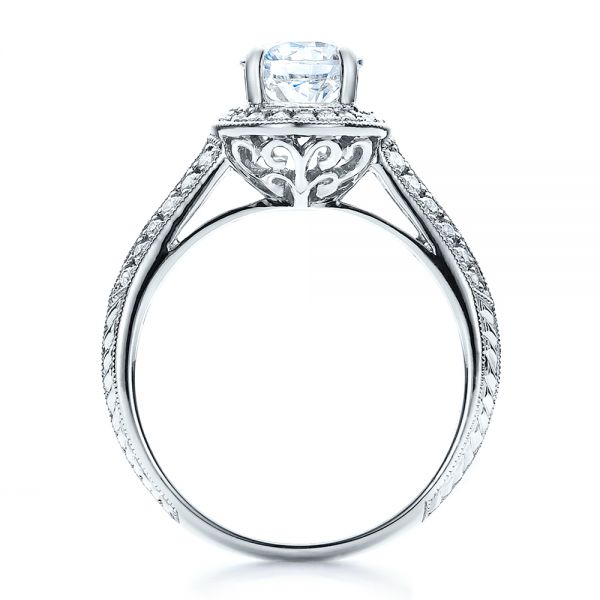 Halo, Hand Engraved, Pave, Engagement Ring - Vanna K - Front View -  100076 - Thumbnail