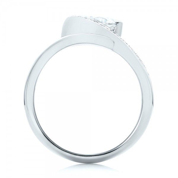 14k White Gold Halo Loop Diamond Engagement Ring - Front View -