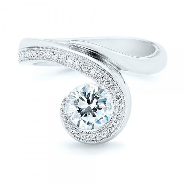 14k White Gold Halo Loop Diamond Engagement Ring - Top View -