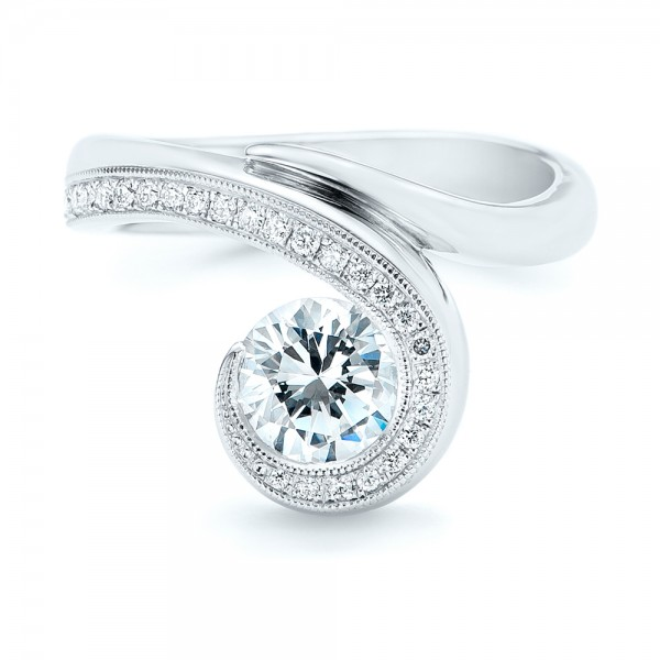 Halo Loop Diamond Engagement Ring - Top View