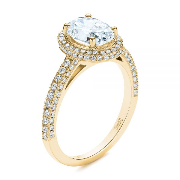 Halo Oval Pave Diamond Engagement Ring - Image