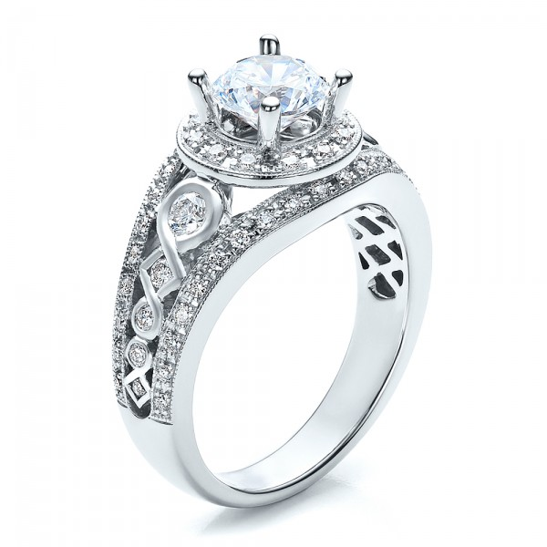 Halo, Prong Set, Engagement Ring - Vanna K