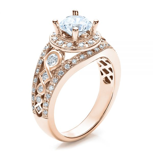 14k Rose Gold 14k Rose Gold Halo Prong Set Engagement Ring - Vanna K - Three-Quarter View -