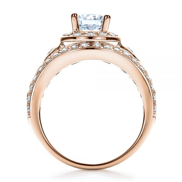 14k Rose Gold 14k Rose Gold Halo Prong Set Engagement Ring - Vanna K - Front View -