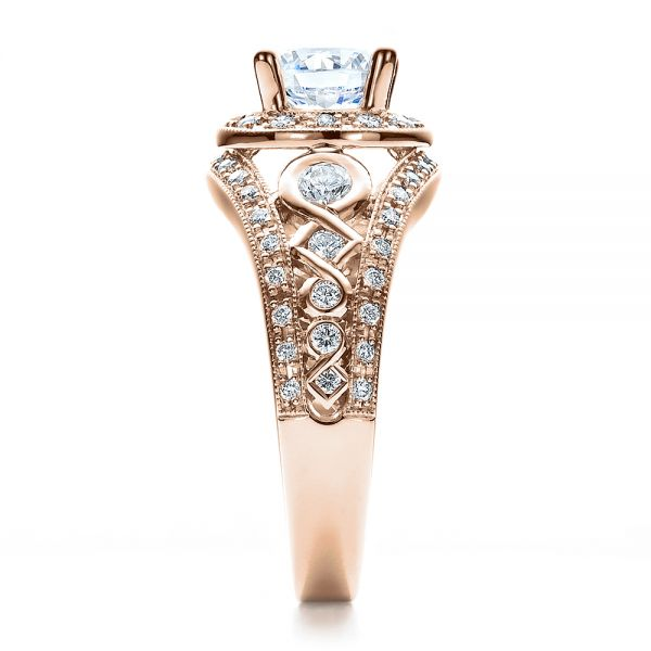 14k Rose Gold 14k Rose Gold Halo Prong Set Engagement Ring - Vanna K - Side View -