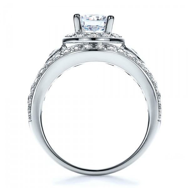 Halo, Prong Set, Engagement Ring - Vanna K - Finger Through View