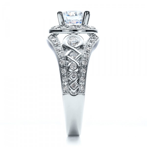 Halo, Prong Set, Engagement Ring - Vanna K - Side View