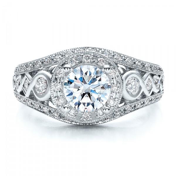 Halo, Prong Set, Engagement Ring - Vanna K - Top View