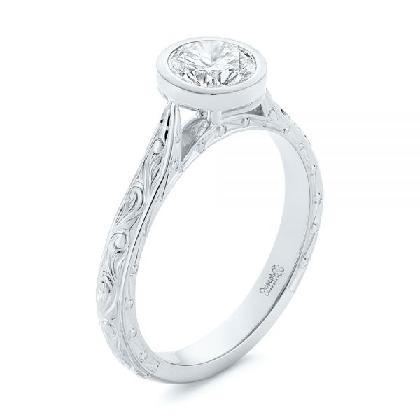 Hand Engraved Bezel Solitaire Diamond Engagement Ring - Image