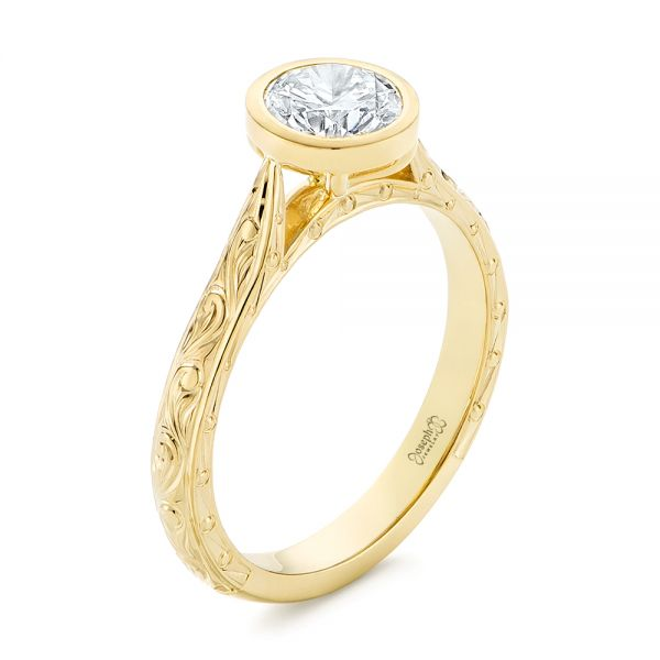 18k Yellow Gold Hand Engraved Bezel Solitaire Diamond Engagement Ring - Three-Quarter View -  105297