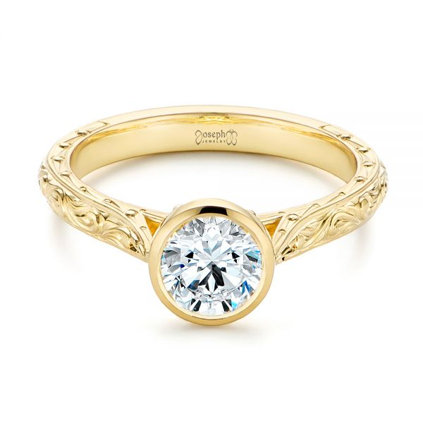 18k Yellow Gold Hand Engraved Bezel Solitaire Diamond Engagement Ring - Flat View -  105297