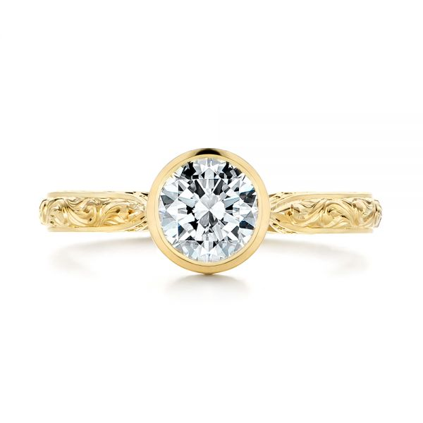 18k Yellow Gold Hand Engraved Bezel Solitaire Diamond Engagement Ring - Top View -  105297