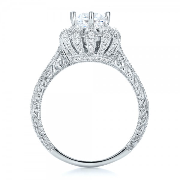 Hand Engraved Crown Halo Diamond Engagement Ring - Vanna K - Finger Through View