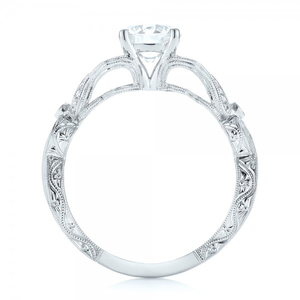14k White Gold Hand Engraved Diamond Engagement Ring - Front View -