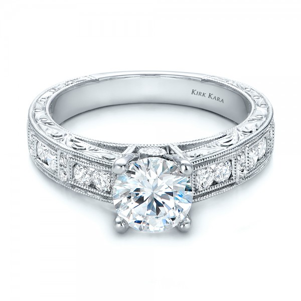 Hand Engraved Diamond Engagment Ring - Kirk Kara