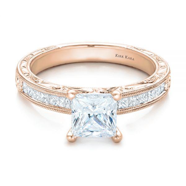 18K Rose Gold Hand Engraved Princess Cut Engagement Ring