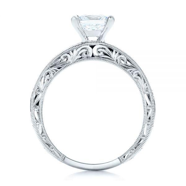 Hand Engraved Princess Cut Engagement Ring