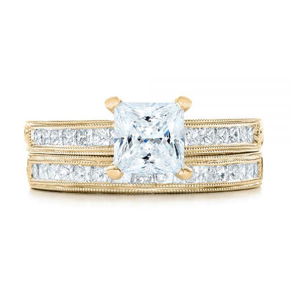 18K Yellow Gold Hand Engraved Princess Cut Engagement Ring