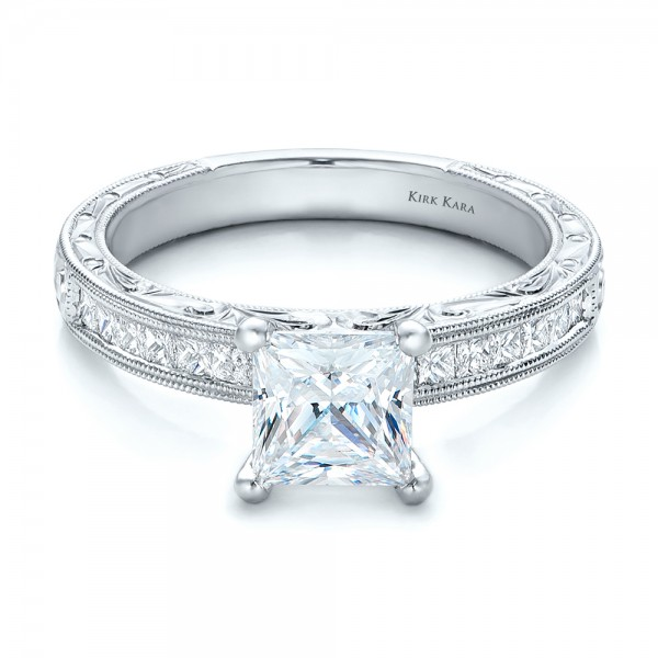 Hand Engraved Princess Cut Engagement Ring - Kirk Kara
