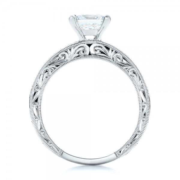 Hand Engraved Princess Cut Engagement Ring - Kirk Kara - Finger Through View