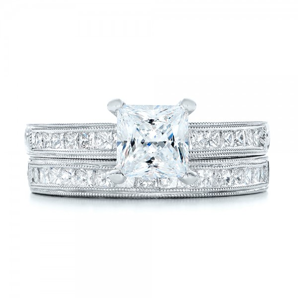 Hand Engraved Princess Cut Engagement Ring - Kirk Kara - Image
