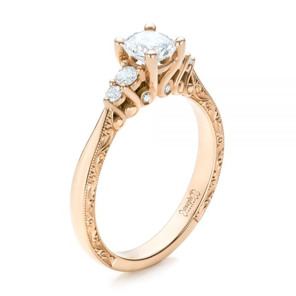 Hand Engraved Rose Gold and Diamond Engagement Ring - Image