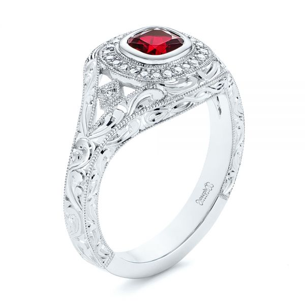 Platinum Hand Engraved Ruby And Diamond Halo Engagement Ring - Three-Quarter View -  105770