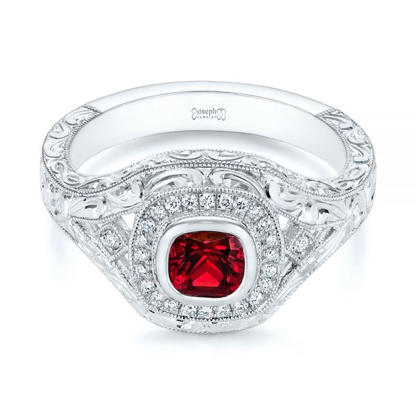 Platinum Hand Engraved Ruby And Diamond Halo Engagement Ring - Flat View -  105770