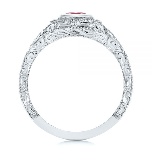 Platinum Hand Engraved Ruby And Diamond Halo Engagement Ring - Front View -  105770