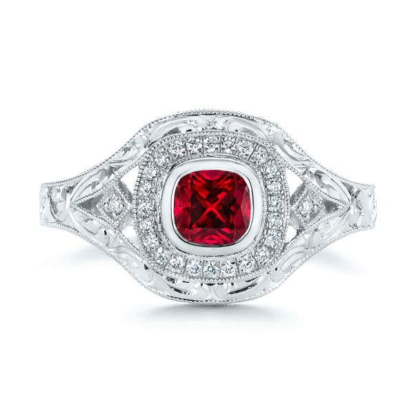 Platinum Hand Engraved Ruby And Diamond Halo Engagement Ring - Top View -  105770