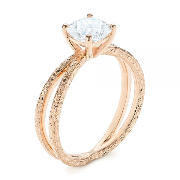 14K Rose Gold Hand Engraved Solitaire Moissanite Engagement Ring - Three-Quarter View -  105107 - Thumbnail