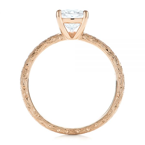 14K Rose Gold Hand Engraved Solitaire Moissanite Engagement Ring - Front View -  105107 - Thumbnail