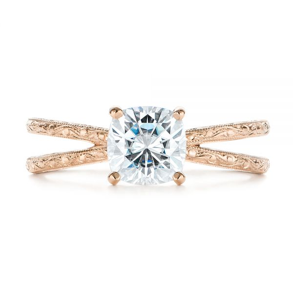 14K Rose Gold Hand Engraved Solitaire Moissanite Engagement Ring - Top View -  105107 - Thumbnail