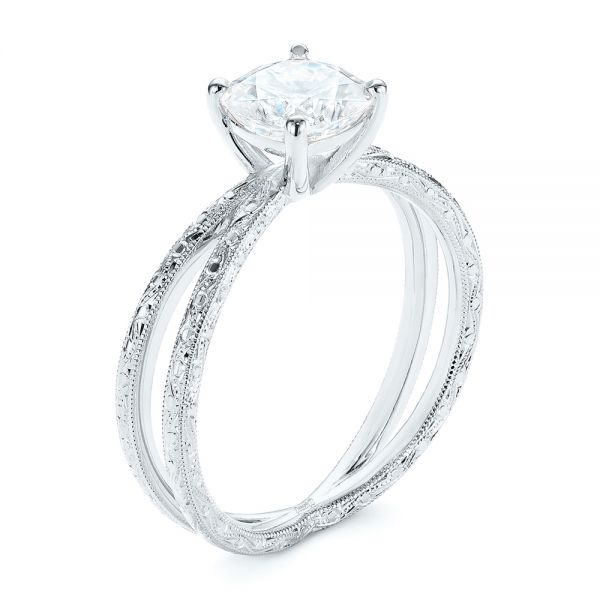 Hand Engraved Solitaire Moissanite Engagement Ring - Image