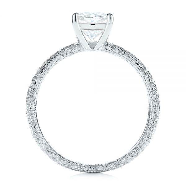 14K White Gold Hand Engraved Solitaire Moissanite Engagement Ring - Front View -  105107 - Thumbnail