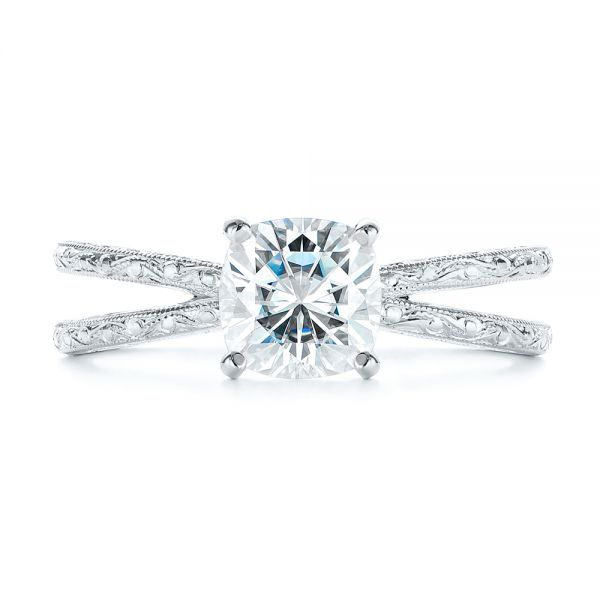 14K White Gold Hand Engraved Solitaire Moissanite Engagement Ring - Top View -  105107 - Thumbnail