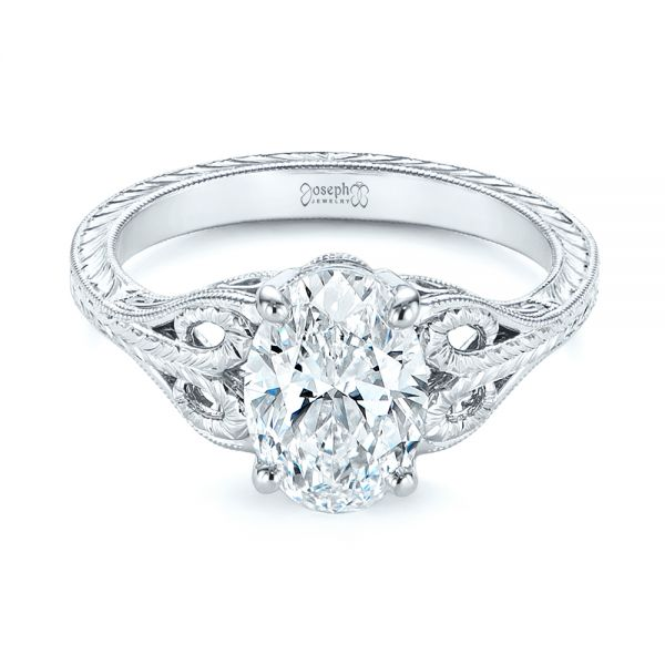 Hand Engraved Solitaire Oval Diamond Engagement Ring