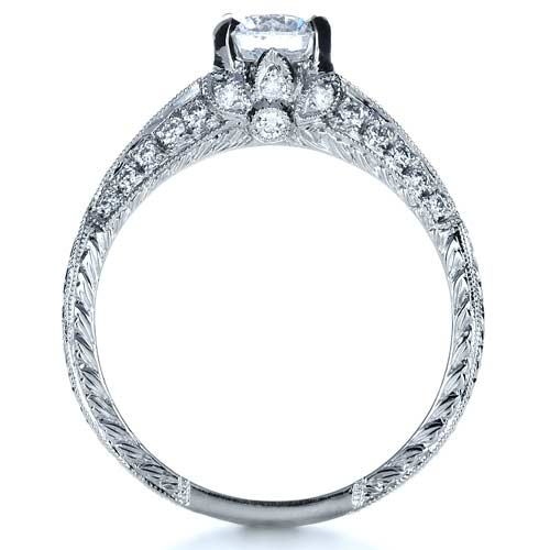Hand Engraved and Diamond Enagagement Ring - Finger Through View