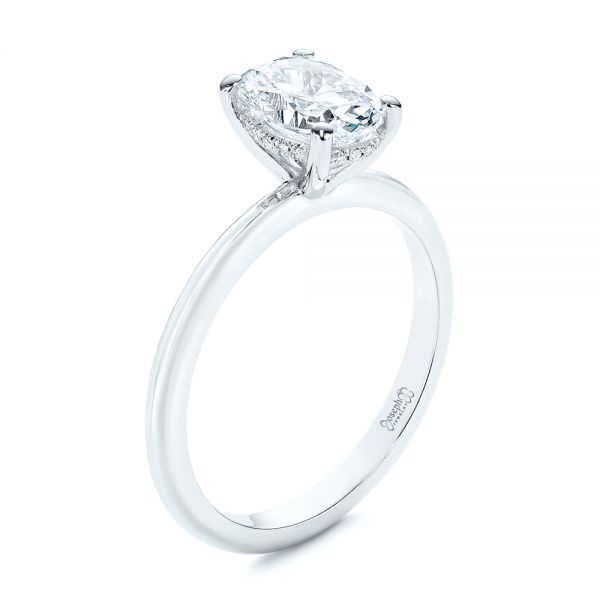 Hidden Halo Oval Diamond Engagement Ring - Image