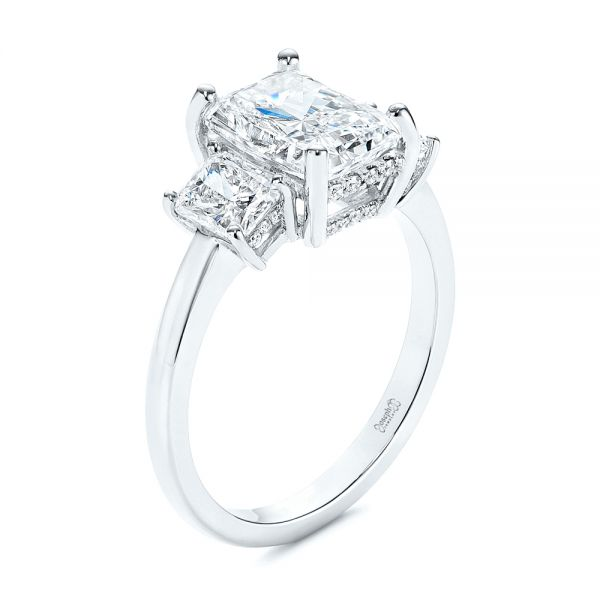 Hidden Halo Three Stone Diamond Engagement Ring - Image