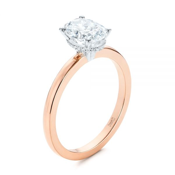 Hidden Halo Two-tone Diamond Engagement Ring - Image
